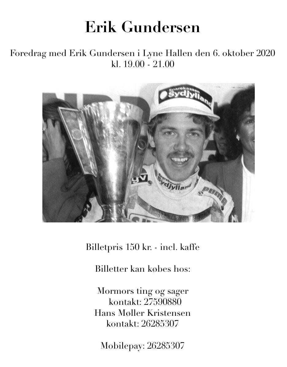Erik Gundersen foredrag 19.00 - 21.00 i Lyne Hallen @ Lyne Hallen